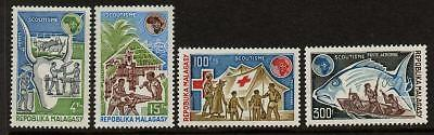 Malagasy 504-5, C122-3 MNH Scouts, Fish, Red Cross