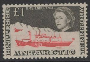 BRITISH ANTARCTIC TERR. SG15a 1969 £1 DEFINITIVE MTD MINT