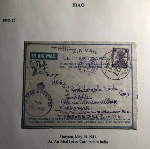 1943 Quiyara Iraq Indian Base Censored Air Letter Cover To Tanjore India