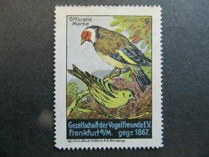 A4P4F52 Reklamemarke Vogelfreunde mint no gum