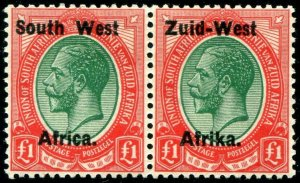 HERRICKSTAMP SOUTH WEST AFRICA Sc.# 12 Top Value Pair Superb LH