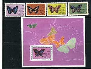 ANTIGUA & BARBUDA -MAIL OVPT.1985 BUTTERFLIES #714-717 MNH