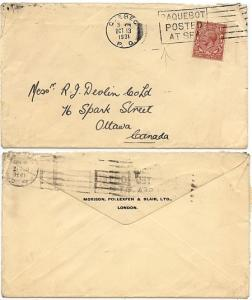 Great Britain - 1931 Pacquebot /Posted/At Sea Cover