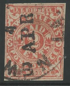 CSA Scott #62x2 Red New Orleans 2c Used Provisional Stamp Latest Use Ex-Skinner
