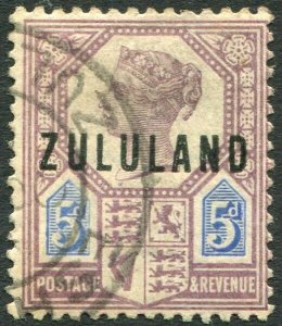 ZULULAND-1893 5d Dull Purple & Blue Sg 7 FINE USED V35348