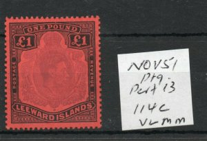 LEEWARD ISLANDS £1  SG114c Nov Ptg. lightly hinged.