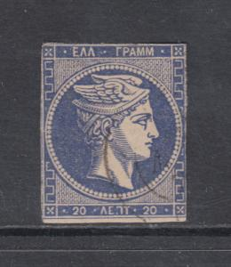Greece Sc 47 used 1875 20 l ultra Hermes Head on creme paper, Fine+