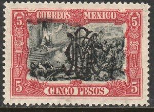 MEXICO 465, $5P VILLA MONOGRAM REV OVPT. UNUSED, H SLIGHTLY DIST GUM. VF.