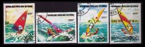 CONGO 1983 #C305-C308 CPL SET CTO PRE-OLYMPICS, WIND SURFING SCENES, CV $2.45