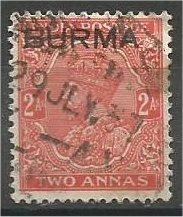 BURMA, 1937, used 2a, Overprinted, Scott 5