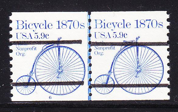 Bicycle 1870's 5.9c Precancel Bars Scarce Coil Line Pair Plate Nr.-6 VF/NH