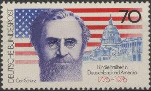 Stamp Germany Sc 1216 1976 Carl Schurz American Flag Capitol Bicentennial MNH