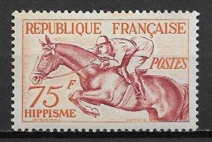 1953 France 705  75F Equestrian MLH SCV$32.50