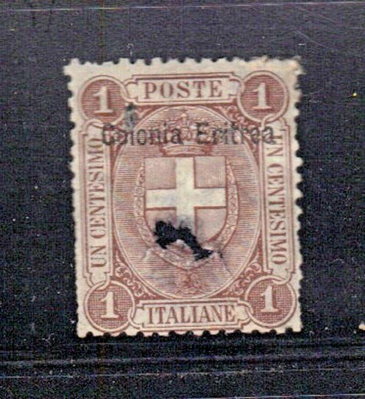 ROSS1374: ERITREA  SC# 12 **USED** 1c  1899  OVERPRINTED ITALY STAMP (DAMAGED)