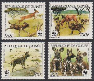 Guinea WWF African Wild Dog 4v SG#1325-1328 MI#1194-1197 SC#1069-1072