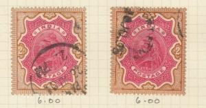 INDIA 1895 2 RUPEE VALUES BOTH TYPES USED 2