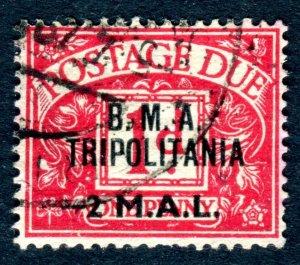 Tripolitania B.M.A. 1948. POSTAGE DUE. 2l on 1d carmine. Used. SGTD2.