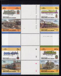 Union Islands 1986 LOCOMOTIVES (LOW) CROSS BLOCK PERFORATED MNH