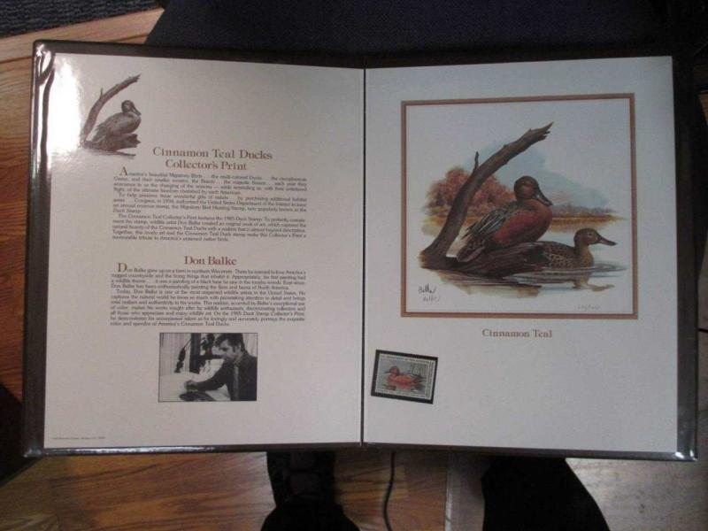 1985 Duck Stamp Panel Hand Signed By Don Balke #290/1000 & RW52 Stamp (BD22)