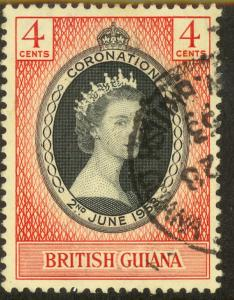BRITISH GUIANA 1953 QE2 CORONATION Issue Sc 252 VFU