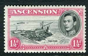 ASCENSION ISLAND; 1938 early GVI issue fine Mint hinged PERF 13.5, value 1.5d
