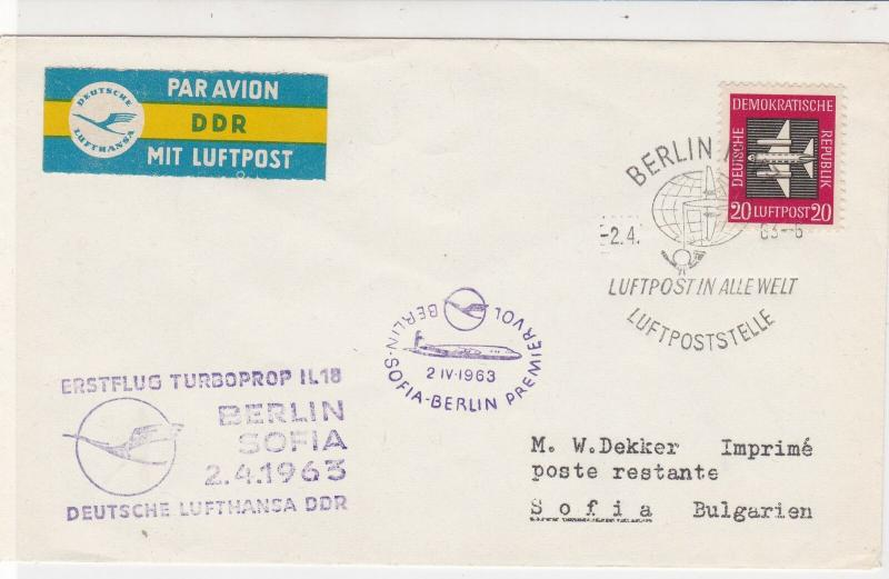 DDR 1963 Airmail Berlin Sofia Slogan Cancels First Flight Stamps Cover ref 22724