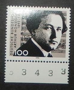 Germany 1736. 1992 Arthur Honegger, composer, NH
