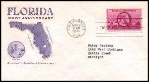 US 927 Florida Statehood Grimsland Typed FDC