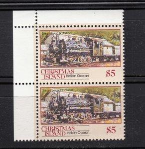 J28373, 1990 christmas island hv of set mnh #269 pair steam train
