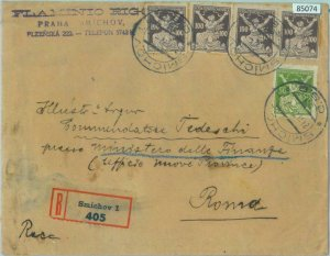 85074 - Czechoslovakia - Postal History -  REGISTERED COVER to ITALY 1922
