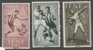 IFNI stamps, MH, set of three,  Scott# B43-B45,Sports, soccer, javalin,   #M617