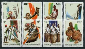 Rwanda 1973 MNH Musical Instruments 8v Set Music Cultures & Ethnicities Stamps