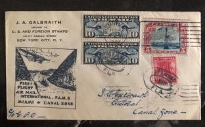 1929 New York USA First Flight Cover FFC To Cristobal Canal Zone Via Miami FAM 5