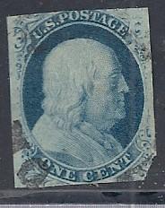 US #7 1c Franklin- Imperf (U) CV $160.00