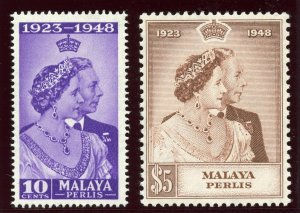 Malaya - Perlis 1948 KGV Silver Wedding set complete superb MNH. SG 1-2. Sc 1-2.