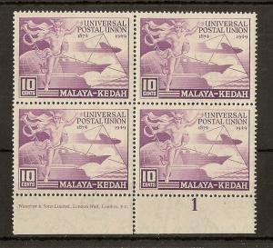 Kedah 1949 10c UPU MNH Block Plate 1