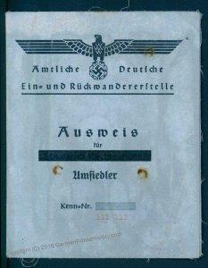 3rd Reich Germany 1941 Woman Ausweis Settler Kennkarte Photo ID 93036