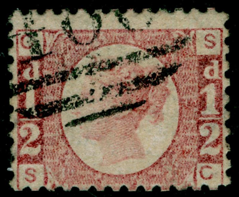 SG49, ½d rose PLATE 9, FINE USED. Cat £850. SC