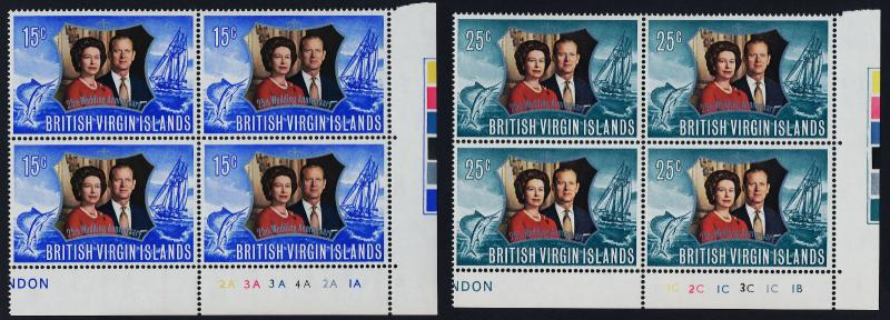 Virgin Islands 241-2 BR Blocks Plate 1A,1B MNH Queen Elizabeth Silver Wedding