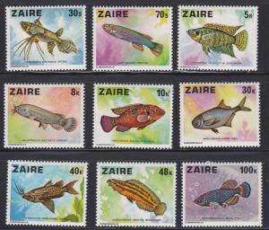 Zaire # 862-870, Fish, Hinged, 1/3 Cat.
