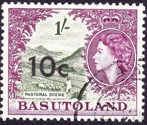BASUTOLAND 1961 QEII 10c on 1/- Bronze-Green & Purple SG64 FU