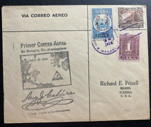 1929 Managua Nicaragua First Flight Airmail Cover FFC To Miami FL USA