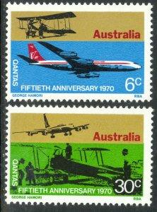 AUSTRALIA 1970 QANTAS AIRLINES Anniversary Set Sc 491-492 MNH