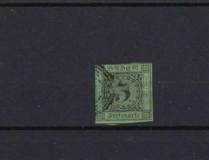 BADEN 1853 3k ON GREEN  IMPERF STAMP CAT £15   REF 6800