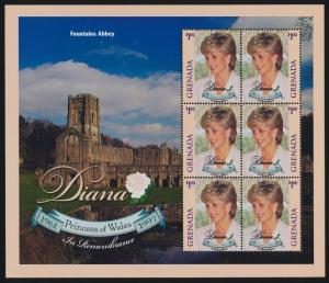 Grenada 2786 sheet MNH Princess Diana, Fountains Abbey