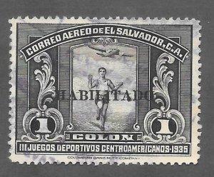 El Salvador Scott #C45 Used 1col O/P air mail stamp 2017 CV $6.00