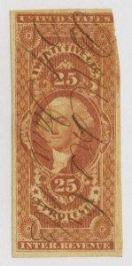 B10 U.S. Revenue Scott R49a 25-cent Protest imperforate, 1863 manuscript cancel