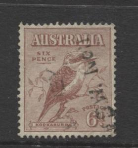 Australia - Scott 139 -  Kookaburra -1932- Used - Single 6d stamp