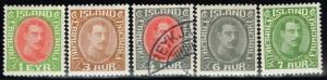 Iceland SC# 176 - 180 Mint Hinged (178 Used) - Lot 72515(2)