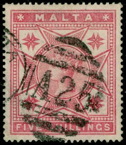 MALTA Sg30, 5s Rose, FINE USED. Cat £80.